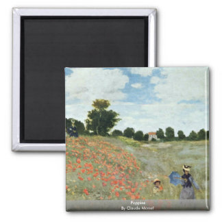 Poppies By Claude Monet Square Magnet