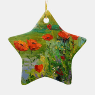 Poppies by the pond christmas ornament