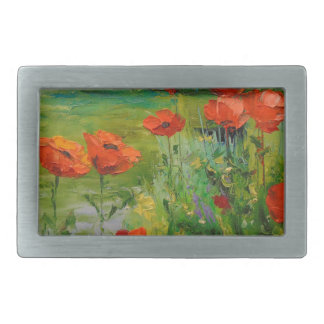 Poppies by the pond rectangular belt buckle