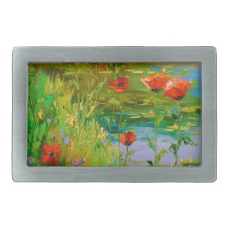 Poppies by the pond rectangular belt buckles