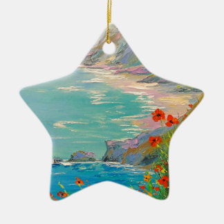 Poppies by the sea christmas ornament