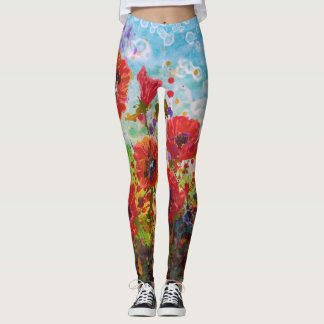 Poppies By The Sea Leggings
