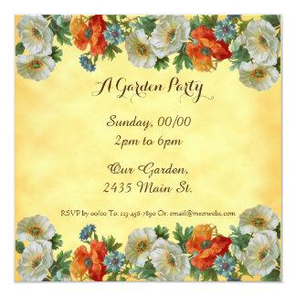 Poppies Custom Garden Party Square Invitations