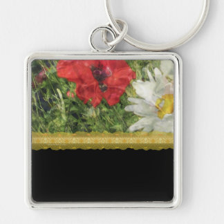Poppies Daisies Elegant Silver-Colored Square Key Ring