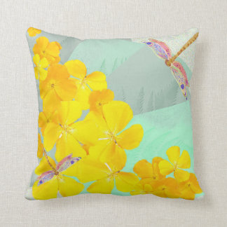 Poppies dragonflies throw pillow