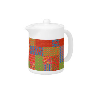 Poppies Faux-patchwork Caseable White China Teapot