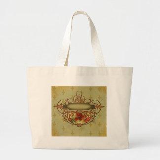 Poppies Fleur de Lis Victorian Style Jumbo Tote Bag