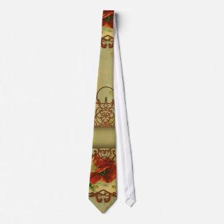 Poppies Fleur de Lis Victorian Style Tie