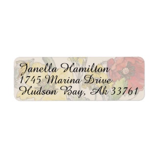 Poppies Floral Flowers Address Labels