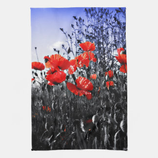 Poppies Floral poppy flower kitchen tea towel