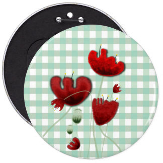 Poppies gingham field country kiss brooch button