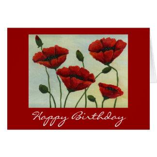 Poppies Happy Birthday Card