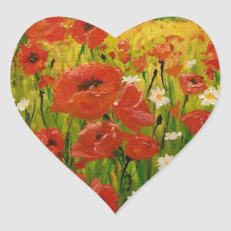 Poppies Heart Sticker