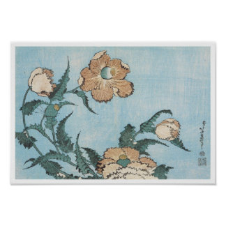 Poppies, Hokusai, 1834 Poster