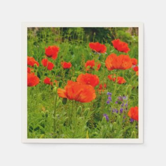Poppies in a Summer Garden Paper Napkins