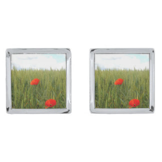 Poppies in a Wheat Field Cufflinks Silver Finish Cufflinks