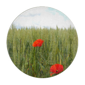 Poppies in a Wheat Field Glass Chopping Board