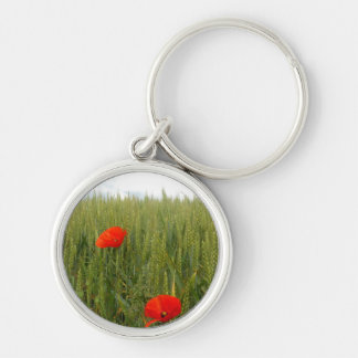 Poppies in a Wheat Field Key Ring Silver-Colored Round Key Ring