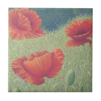 Poppies in Flanders Fields in Pastel Ceramic Tile