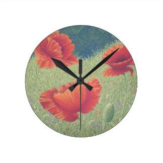 Poppies in Flanders Fields in Pastel Wall Clock
