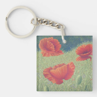 Poppies in Flanders Fields Pastel Acrylic Key Ring