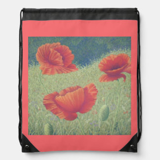 Poppies in Flanders Fields Pastel Drawstring Bag