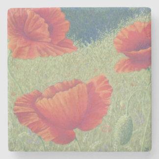Poppies in Flanders Fields Pastel Marble Coaster