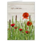 Poppies in Grass Thank You Card