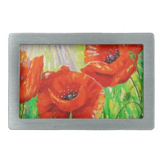 Poppies in sunlight belt buckle