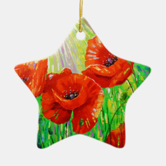 Poppies in sunlight christmas ornament