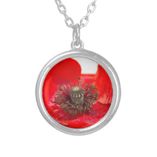 poppies in the garden silver plated necklace