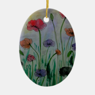 poppies in the meadow christmas ornament