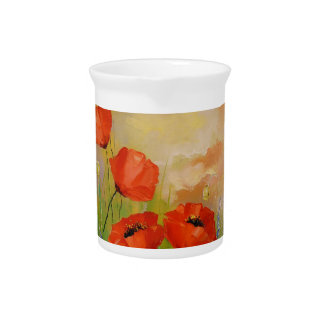 Poppies in the moonlight beverage pitcher
