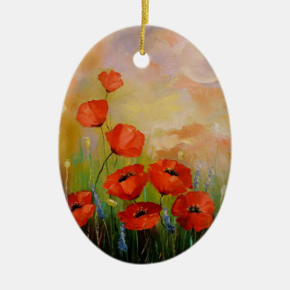 Poppies in the moonlight christmas ornament