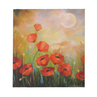 Poppies in the moonlight notepad