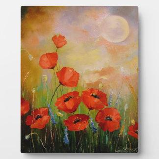 Poppies in the moonlight plaque