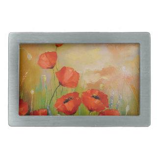 Poppies in the moonlight rectangular belt buckle