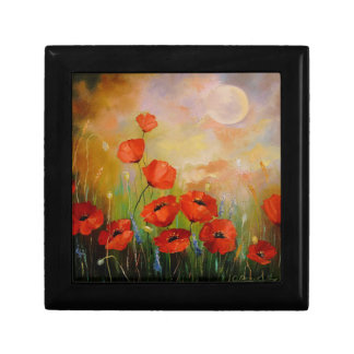 Poppies in the moonlight small square gift box