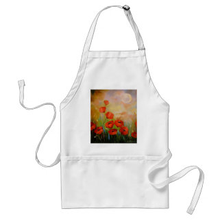Poppies in the moonlight standard apron