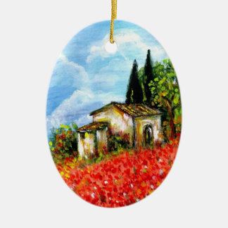 POPPIES IN TUSCANY CERAMIC OVAL DECORATION