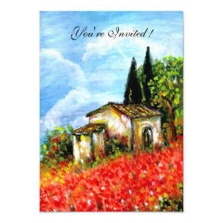POPPIES IN TUSCANY, red, blue,white 13 Cm X 18 Cm Invitation Card