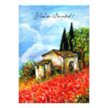POPPIES IN TUSCANY, red, blue,white Custom Announcements