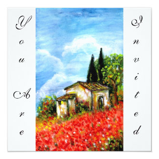 POPPIES IN TUSCANY, red green blue white 13 Cm X 13 Cm Square Invitation Card