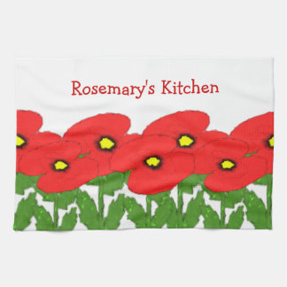 Poppies Just Add Name Tea Towel