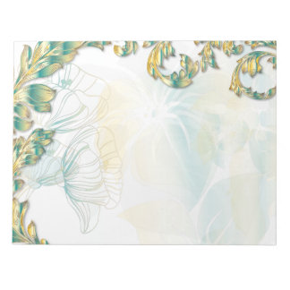 Poppies & Leaves - Teal & Gold Notepad