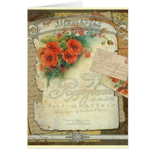 Poppies Memories and French Script Card