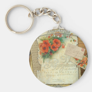 Poppies Memories and French Script Basic Round Button Key Ring