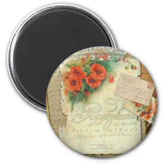 Poppies Memories and French Script 6 Cm Round Magnet