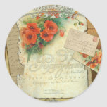 Poppies Memories and French Script Round Sticker
