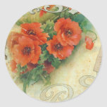 Poppies Memories and French Script Round Stickers